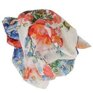 Gucci GUCCI Josephinee 544616 Lightweight Ivory Floral Bloom Scarf Shawl