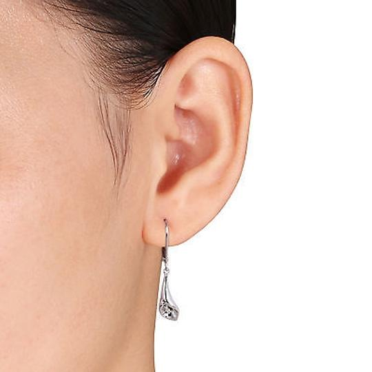 Other Sterling Silver Diamond Calla Lily Leverback Earrings Gh I3