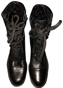 Chanel Lace Up Combat Quilted Zipper Black Boots