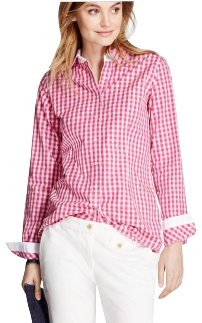 Item - Pink White Women's Gingham Cotton Poplin Button-down Top Size 8 (M)