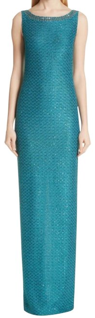 Item - Teal Blue Silver Sequin Shimmer Tweed Knit Gown Long Formal Dress Size 6 (S)