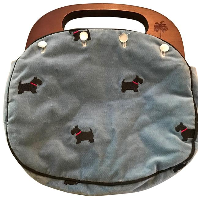 Item - With Embroidered Scotties Blue Velvet Baguette