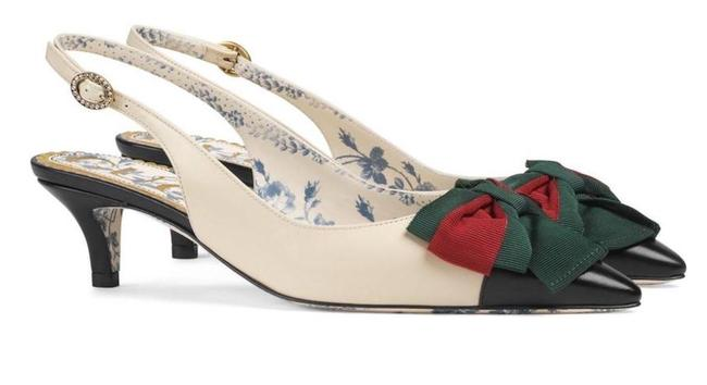 Item - Ivory Black Red Off White Leather Sling-back with Web Bow Pumps Size EU 36 (Approx. US 6) Regular (M, B)