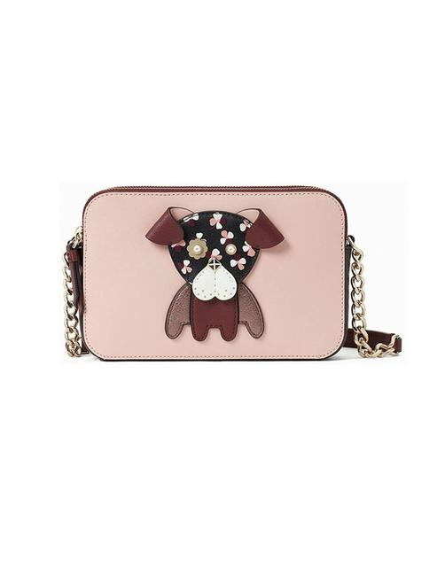Kate Spade New York Floral Puppy Dog Mauve and Burgundy Leather Cross Body Bag Kate Spade New York Floral Puppy Dog Mauve and Burgundy Leather Cross Body Bag Image 1