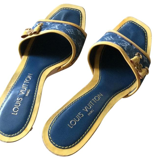 Item - Blue/ Yellow Wooden with Jean Lv Logo Sandals Size EU 38 (Approx. US 8) Regular (M, B)
