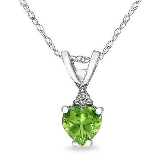 Other 10k White Gold Diamond And 12 Ct Peridot Heart Love Pendant Necklace Gh I1i2