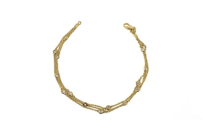 Item - Yellow Triple Row Diamond Station Gold Bracelet
