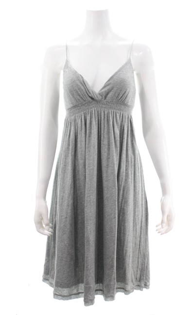 Item - Grey Heather V-neck Spaghetti Strap Medium Mid-length Short Casual Dress Size 4 (S)