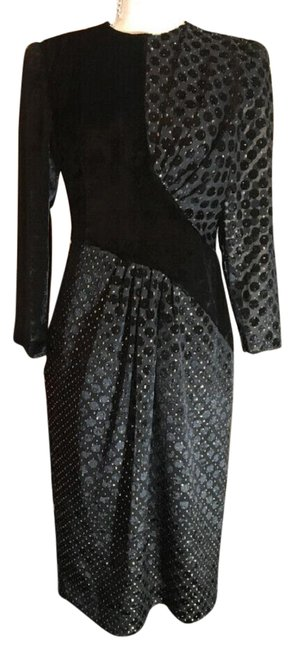 Item - Black & Gold Vintage 1980s Party Mid-length Casual Maxi Dress Size 10 (M)