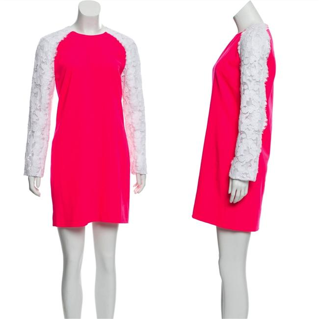 Item - Neon Pink Lace-accented Short Night Out Dress Size 8 (M)