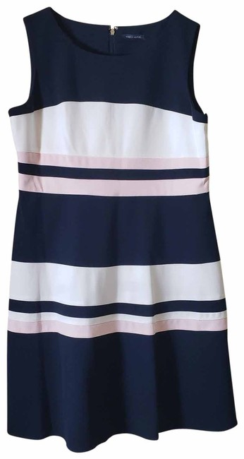 Item - Navy/White/Pink Scuba Navy/White/Pink Fit & Flare Crepe Mid-length Cocktail Dress Size 16 (XL, Plus 0x)