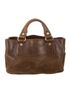 Céline Satchel in Chocolate Brown Distressed Leather