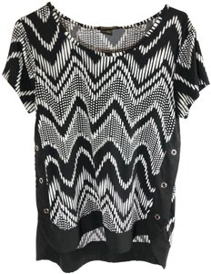 Susan Lawrence Polyester Zebra Structured Top Black and White