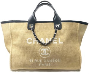 Chanel Blue Tote in Beige-black