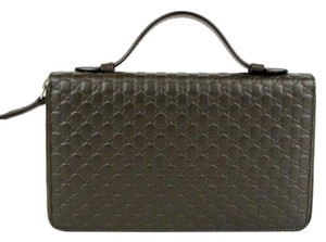 Gucci Gucci #449246 Large Micro-GG Double Zip Travel Wallet