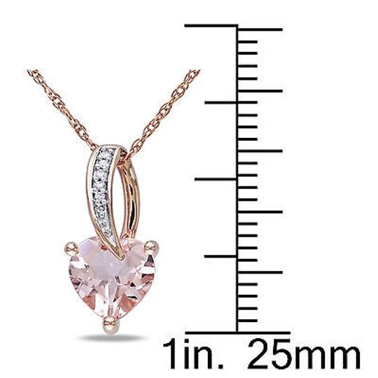 Other 10k Pink Gold Diamond 1 110 Ct Morganite Heart Love Pendant Necklace Chain