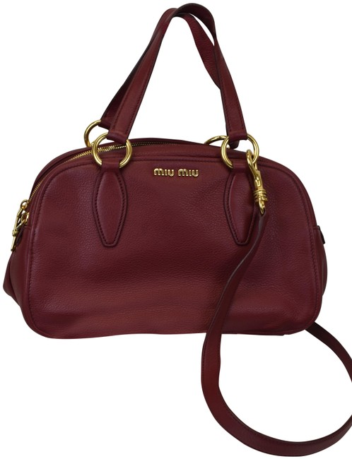 Item - Burgundy Textured 2x Zip 5bb050 Shoulder Red Leather Satchel