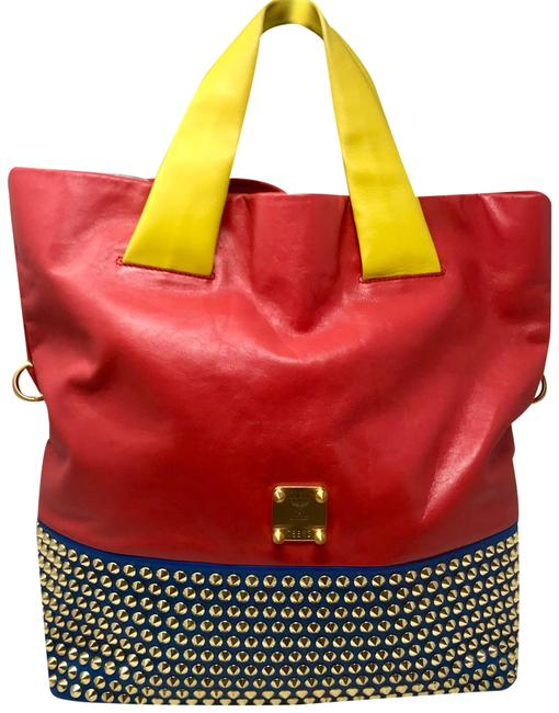 "Item - Multicolor Studded Limited Édition Herbert ""shiny"" Red/Blue/Green/Yellow Leather Tote"
