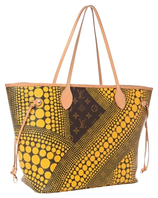 Item - Neverfull Monogram Kusama Waves Mm (Pre-loved—excellent) Yellow and Brown Leather Tote