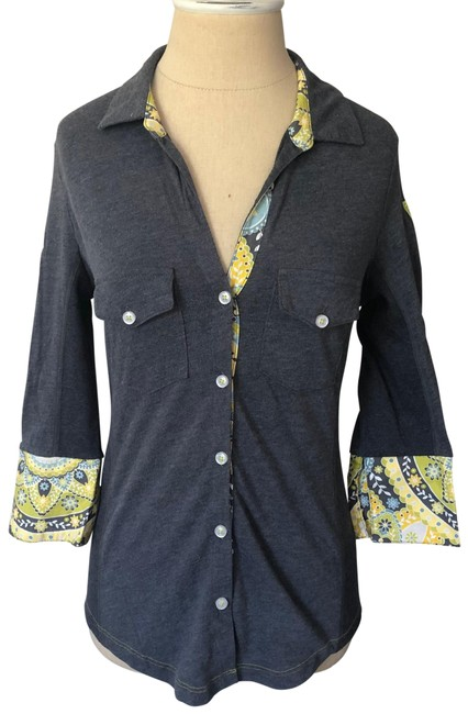 Item - Gray Yellow Multi Patch 3/4 Sleeve Print Cuff Button-down Top Size 2 (XS)