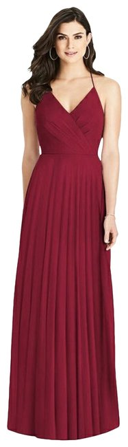 Item - Burgundy 3021 Ruffle Back Chiffon A Line Gown Long Formal Dress Size 12 (L)