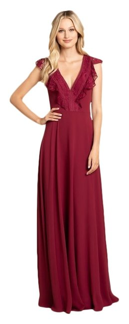 Item - Burgundy 5912 Lace Chiffon A Line Gown Long Formal Dress Size 12 (L)
