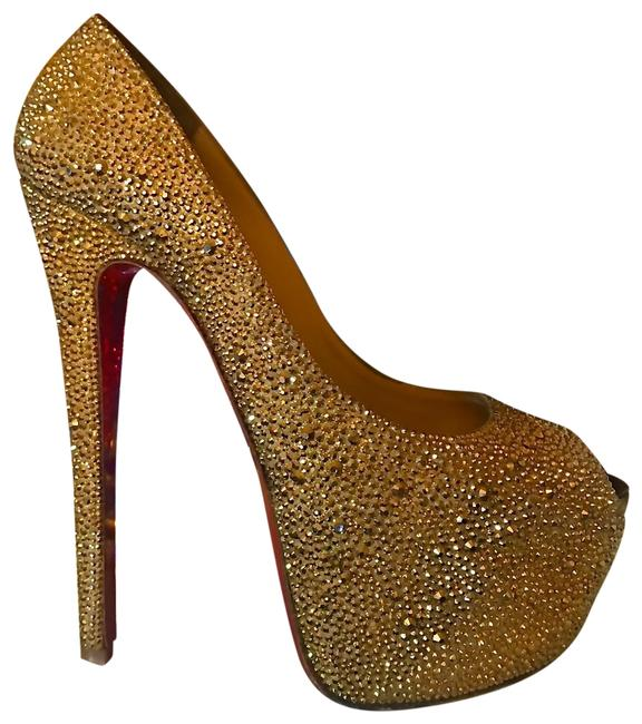 Item - Aurum Gold Swarovski Crystal Strass Highness Heels Platforms Size EU 39 (Approx. US 9) Narrow (Aa, N)