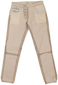 Unravel Project Cotton Logo Skinny Pants Ivory
