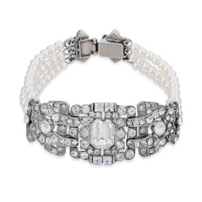 Item - Silver Deco Crystal and Pearl Bracelet