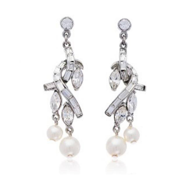 Item - Silver Pearl and Crystal Embrace Drop Earrings