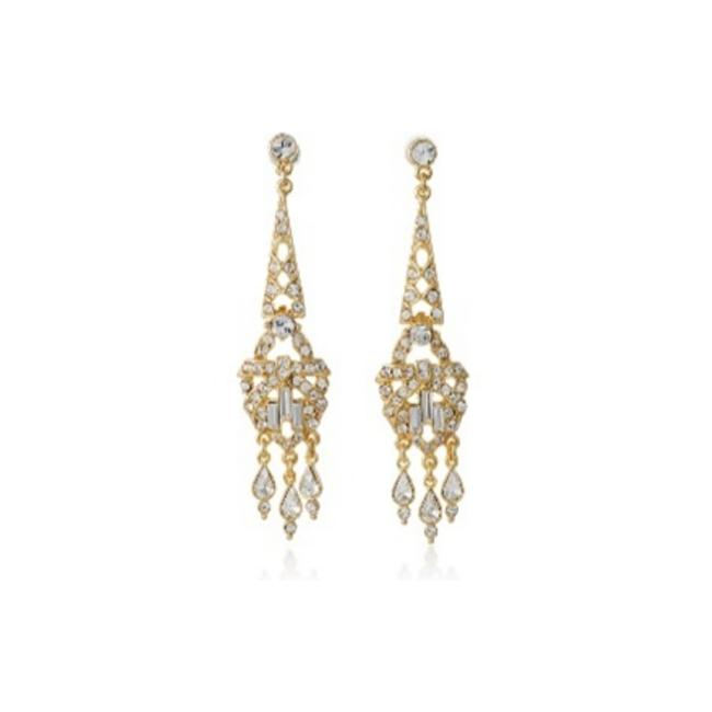 Item - Gold Crystal Deco Chandelier Earrings