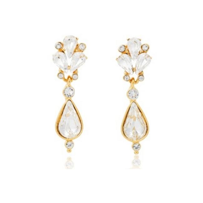Item - Gold Small Crystal Fan Teardrop Earrings