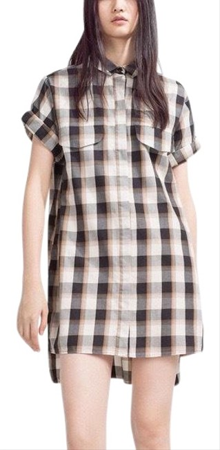 Zara Checked Organic Cotton Short Casual Dress Size 0 (XS) Zara Checked Organic Cotton Short Casual Dress Size 0 (XS) Image 1