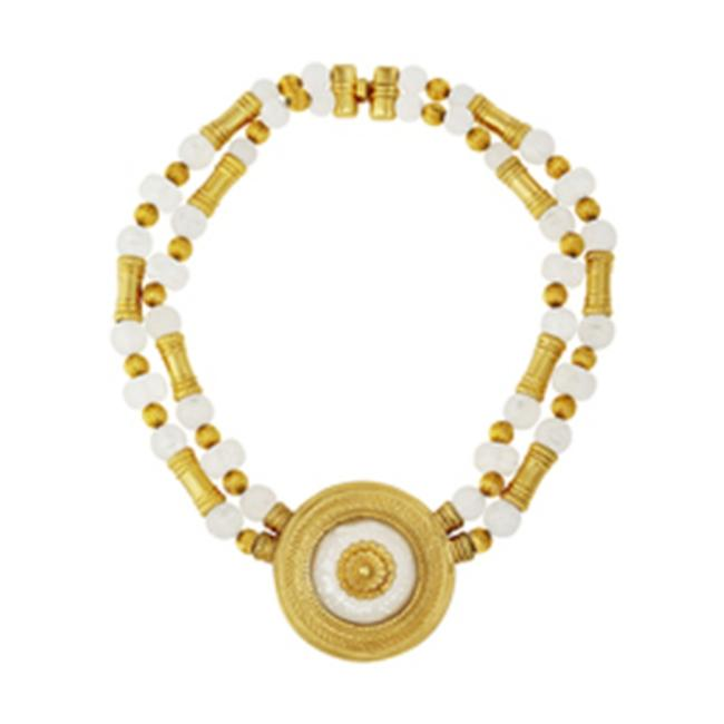 Item - Gold White Bead and Pendant Necklace