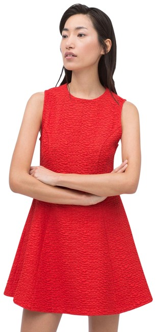Zara Red Jacquard with Pleats. Short Casual Dress Size 0 (XS) Zara Red Jacquard with Pleats. Short Casual Dress Size 0 (XS) Image 1