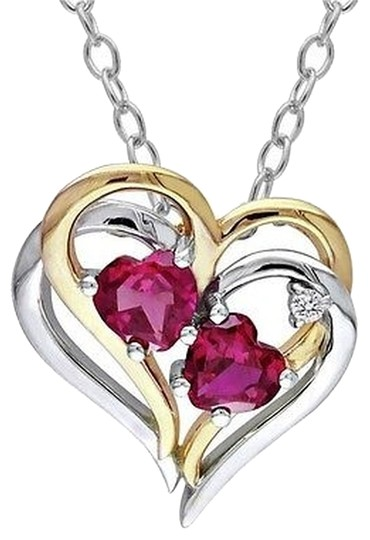 Other Sterling Silver Ruby And Diamond Two-tone Double Heart Love Pendant Necklace