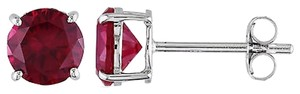 Amour 10k 2 Ct Tgw Ruby Solitaire Earrings