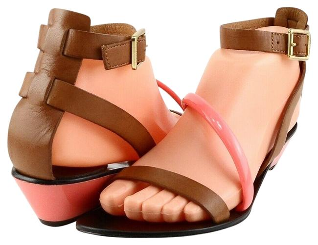 Item - Brown Neon Orange Sidnee Leather Wedge Sandals Size US 8.5 Regular (M, B)