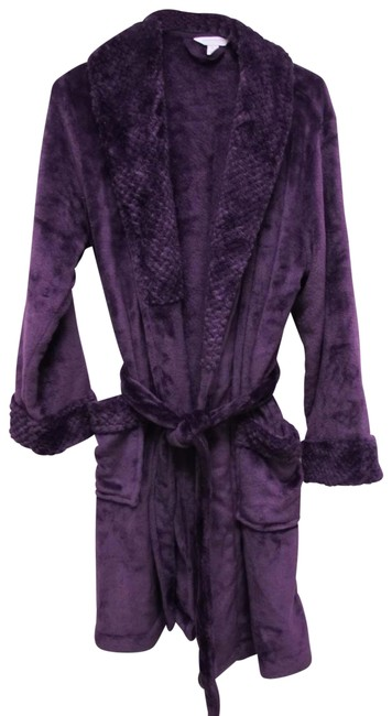 Charter Club Purple Short Dimple Contrast Robe Size Med Charter Club Purple Short Dimple Contrast Robe Size Med Image 1