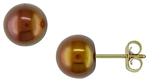 Other Amour 10k Yellow Gold Freshwater Brown Pearl Stud Earrings 6-6.5mm