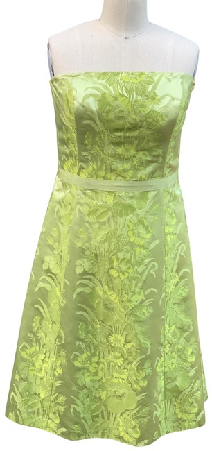 Ann Taylor Chartreuse Strapless Jacquard Short Formal Dress Size 10 (M) Ann Taylor Chartreuse Strapless Jacquard Short Formal Dress Size 10 (M) Image 1