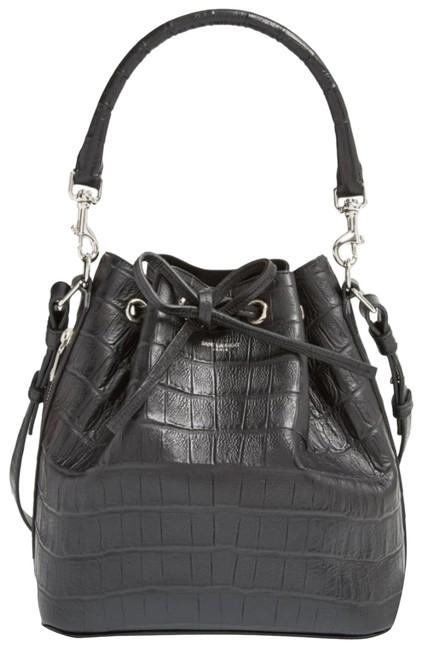 Item - Emmanuelle Bucket Small Croc Embossed Grey Leather Cross Body Bag