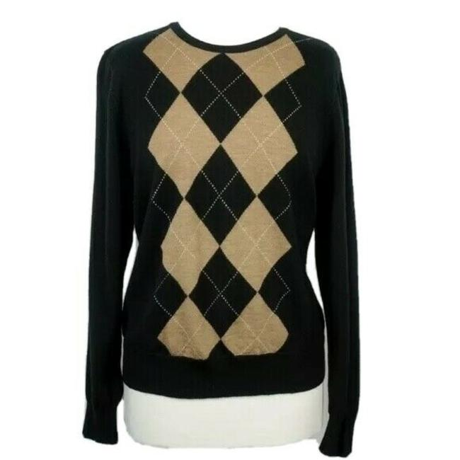 Item - Merino Wool Argyle Diamond Pattern Black Sweater
