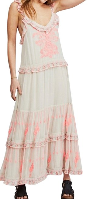 Item - Beige and Pink Coralie Combo Floral Long Night Out Dress Size 6 (S)