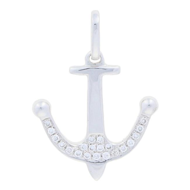 Item - White Gold Diamond Anchor Pendant - 18k Round Brilliant Accents E8226 Charm