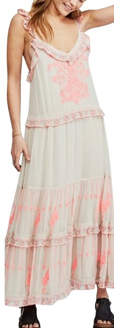Item - Beige and Pink Coralie Combo Floral Long Night Out Dress Size 10 (M)