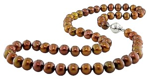 Other Sterling Silver 6.5-7mm Brown Cultured Freshwater Pearl Necklace