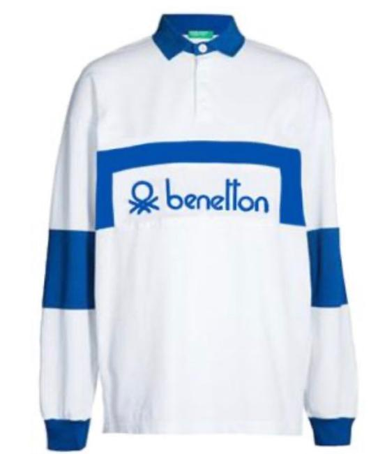 Item - 80's Retro Rugby White/Blue Sweater