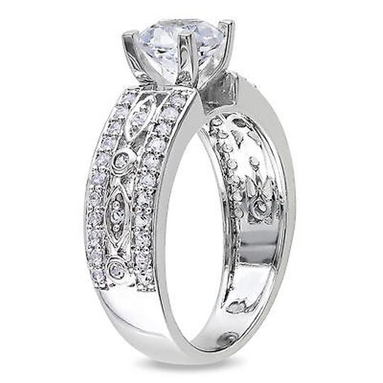 Sterling Silver 1.87 Ct Tgw Created Geometric White Sapphire Engagement Ring