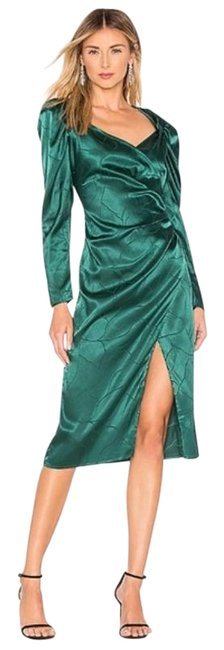 L'academie Green The Cindy Midi Rainforest Long Sleeve Faux Wrap Cocktail Dress Size 4 (S) L'academie Green The Cindy Midi Rainforest Long Sleeve Faux Wrap Cocktail Dress Size 4 (S) Image 1